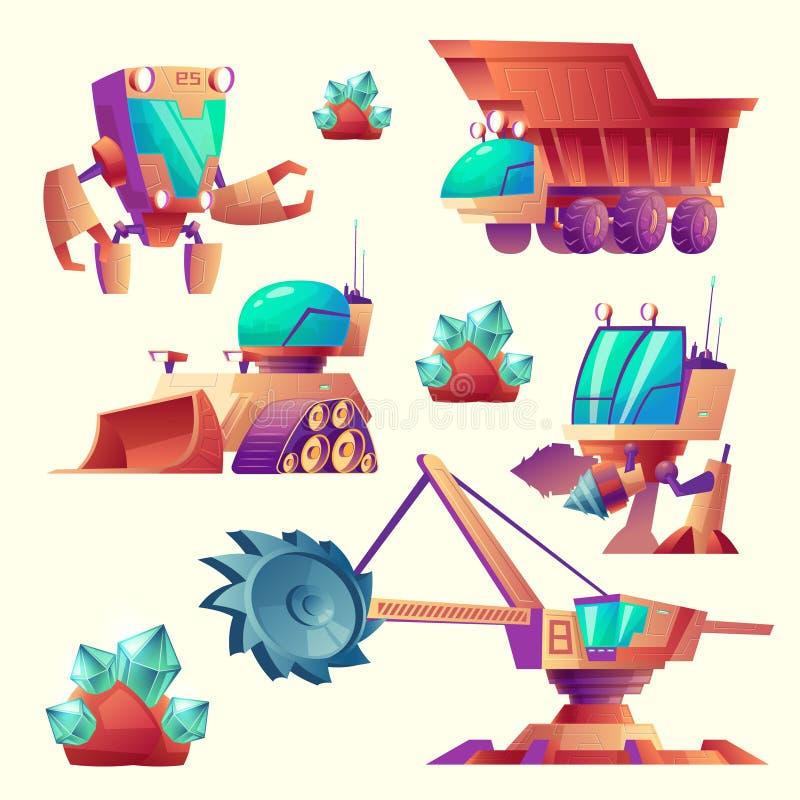 Maquinaria de mineração estrangeira dos desenhos animados do vetor para planetas ilustração royalty free