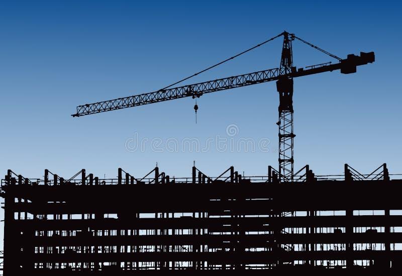 Maquinaria industrial e o guindaste de construção Guindastes e arranha-céus sob a construção, skyline da cidade no por do sol, na ilustração do vetor