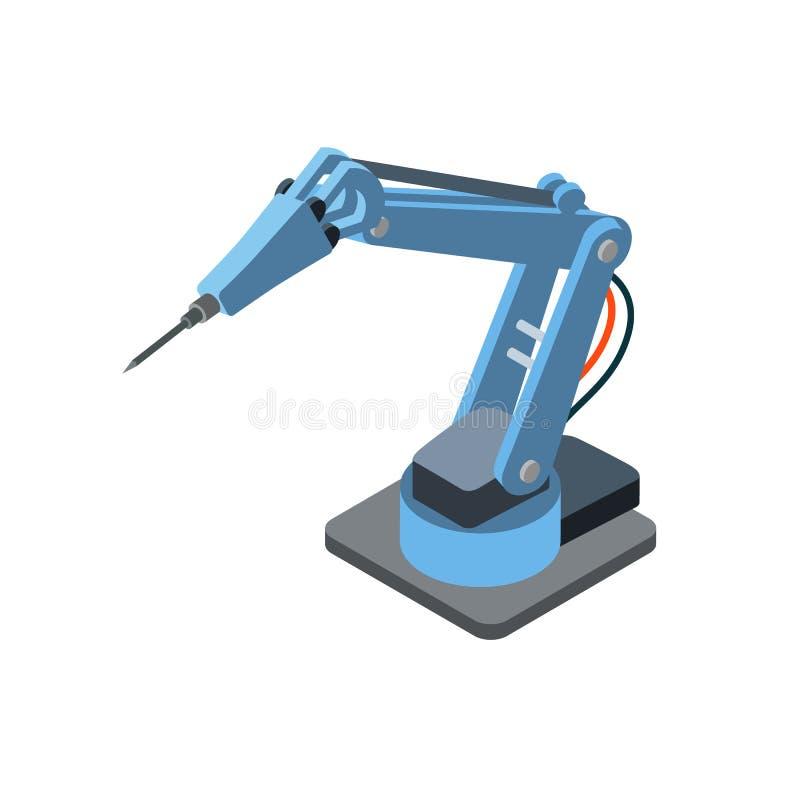 Maquinaria robótica industrial en blanco ilustración del vector