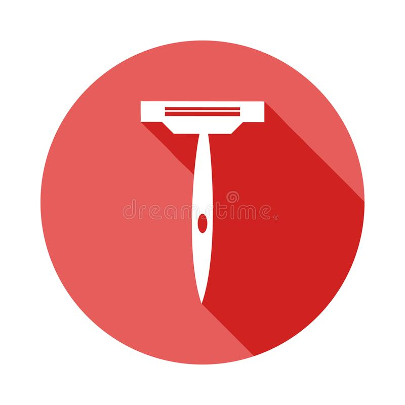 maquinilla de afeitar para afeitar el icono plano de la sombra larga Elemento del icono del peluquero para los apps móviles del c stock de ilustración