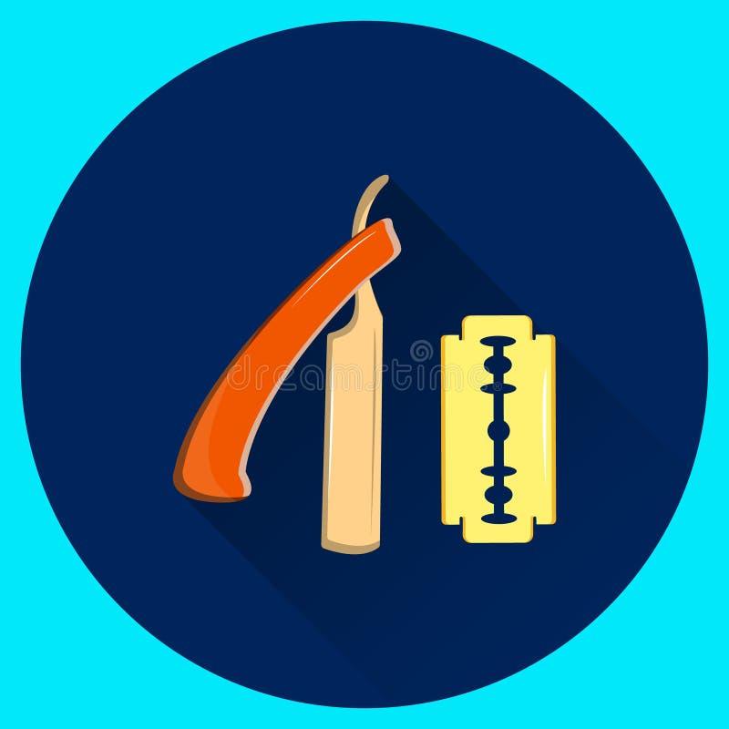 Maquinilla de afeitar recta para afeitar y la cuchilla reemplazable Equipo del peluquero stock de ilustración