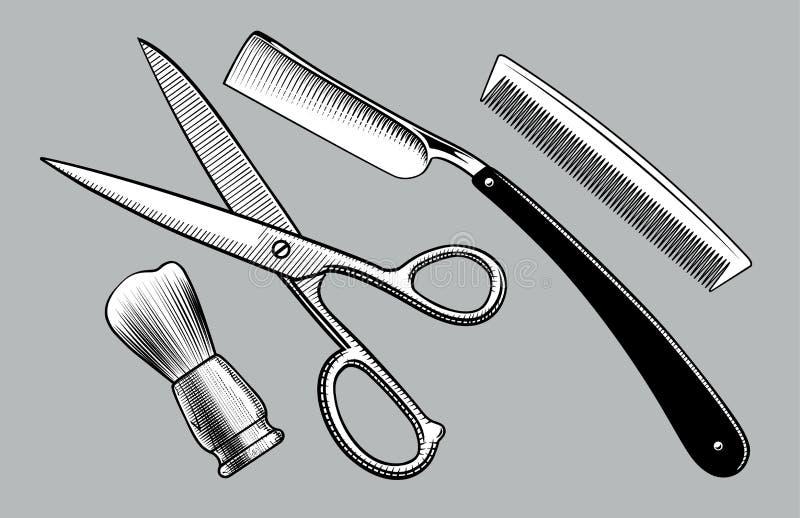 Maquinilla de afeitar recta, tijeras, soporte del cepillo y peine libre illustration
