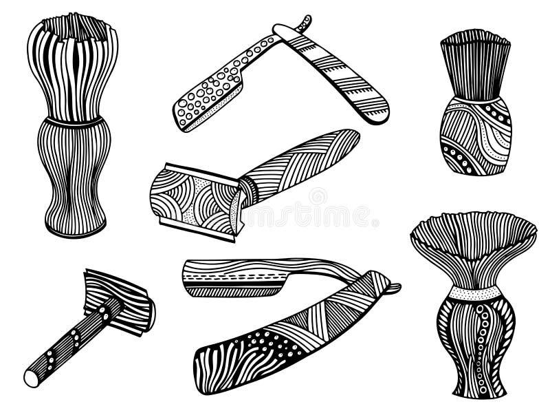 Maquinilla de afeitar recta y brocha de afeitar ilustración del vector