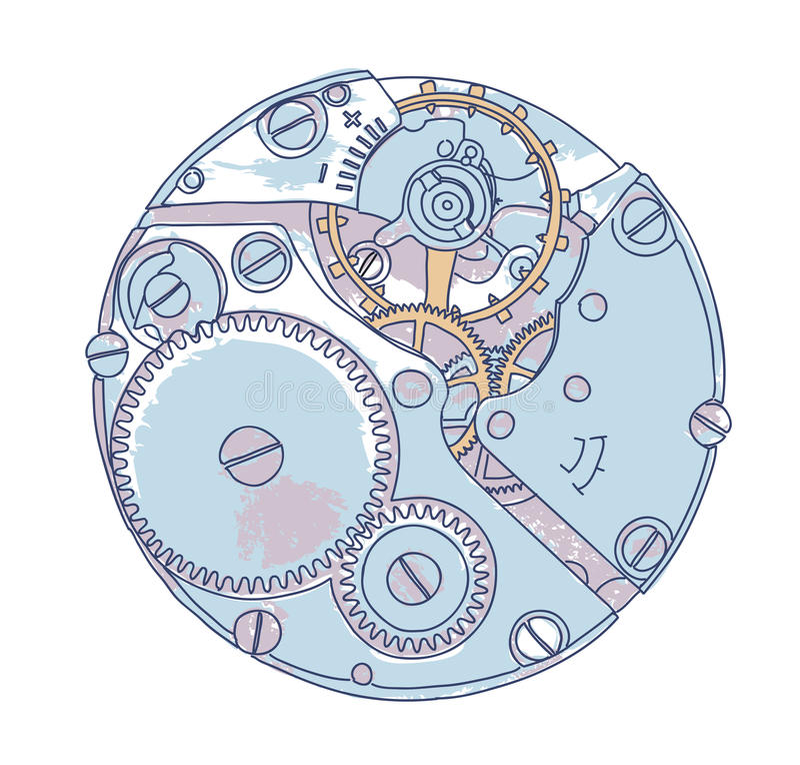 Maquinismo de relojoaria. ilustração royalty free