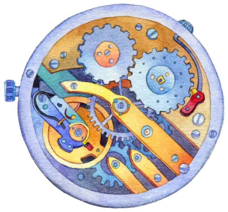 Maquinismo de relojoaria da aquarela ilustração stock