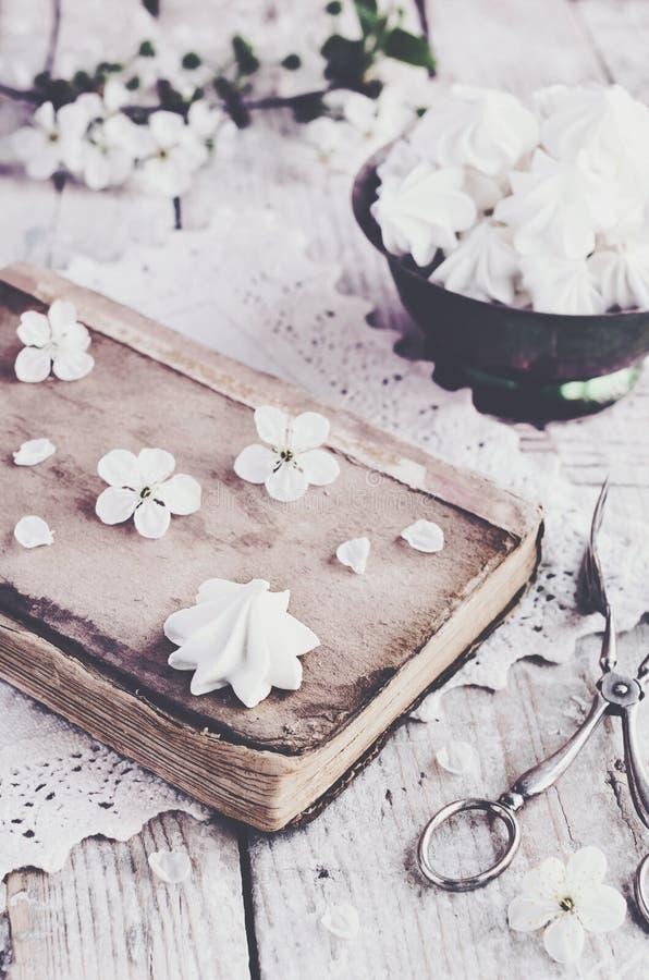 Marängkyssar och körsbärblommor, tappningstil royaltyfri fotografi