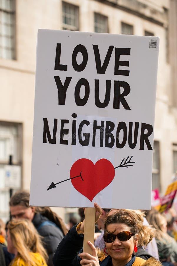 março contra o racismo - Londres, Reino Unido fotografia de stock