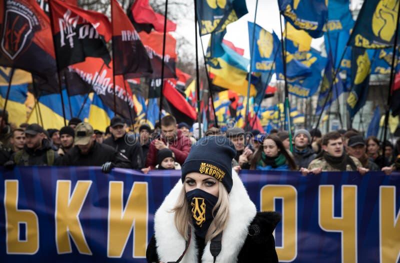 março da dignidade nacional em Kyiv imagens de stock