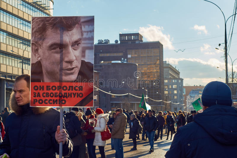 março da memória do político massacrado Boris Nemtsov imagens de stock