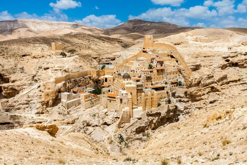 março Saba, Lavra santamente de Saint Sabbas, monastério cristão Ortodoxa Oriental Cisjordânia, Palestina, Israel foto de stock