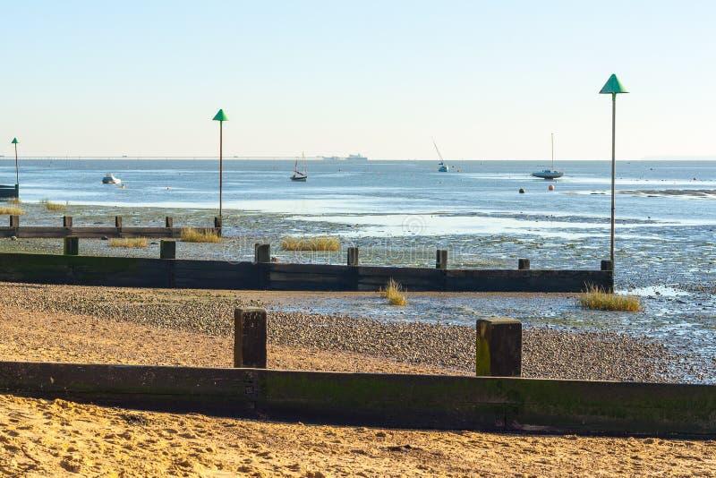 Maré baixa em Leigh no mar foto de stock royalty free