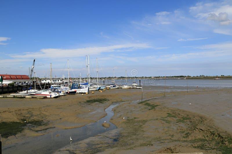 Maré baixa no estuário do rio imagens de stock