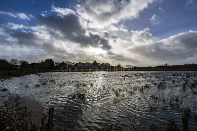 Marécage chez Pebsham dans la vallée hiver-inondée de Combe, près de Bexhill à East Sussex, l'Angleterre photo stock