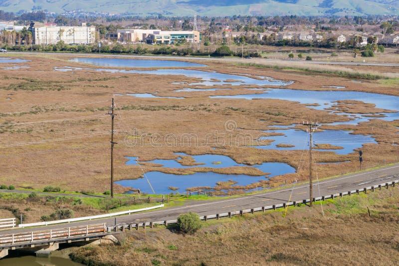Marécages en réserve de Don Edwards, région de Fremont, San Francisco Bay, la Californie photo stock