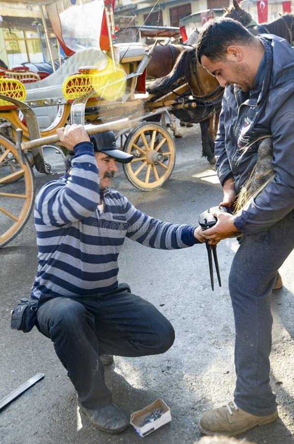 maréchal-ferrant Le sabot du cheval clouant sur des chaussures image libre de droits