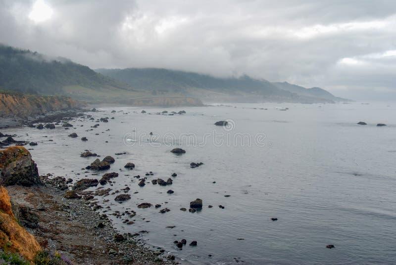 Marée basse de brouillard de côte de Mendocino image libre de droits