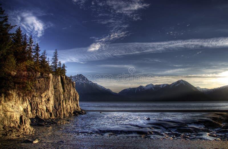 Marée inférieure dans le bras Alaska de Turnagain image libre de droits