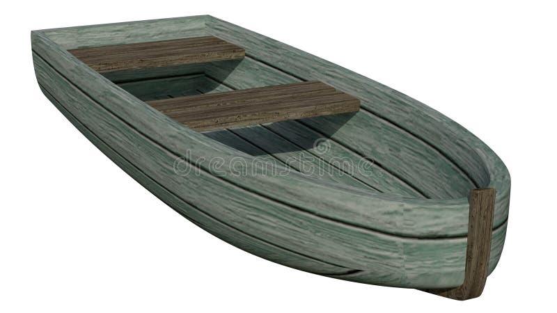 Marée inférieure et bateau motorisé en bois illustration libre de droits
