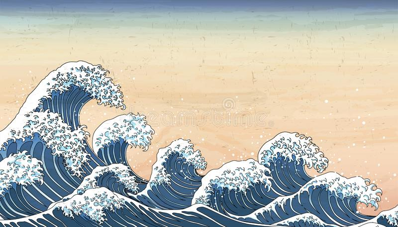 Mar?es de vague dans le style d'Ukiyo-e illustration stock