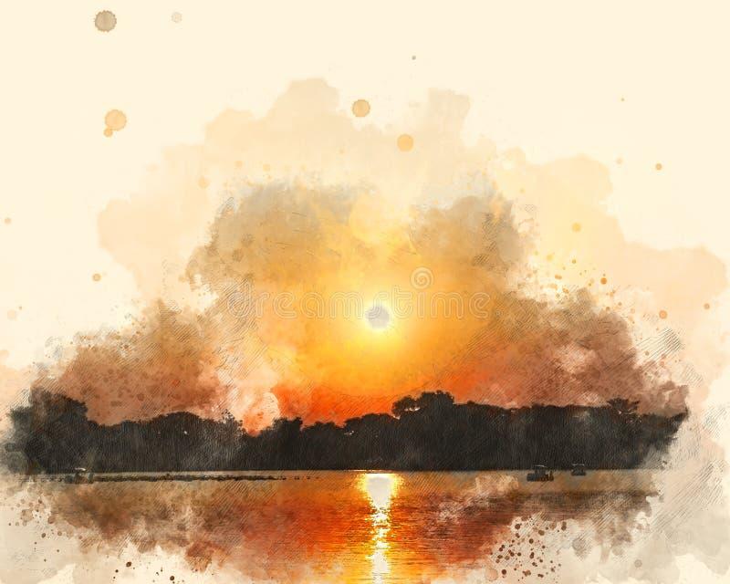 Mar abstracto y salida del sol de la onda en la pintura de la acuarela libre illustration
