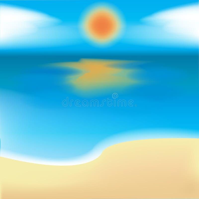 mar, areia e sol ilustração royalty free