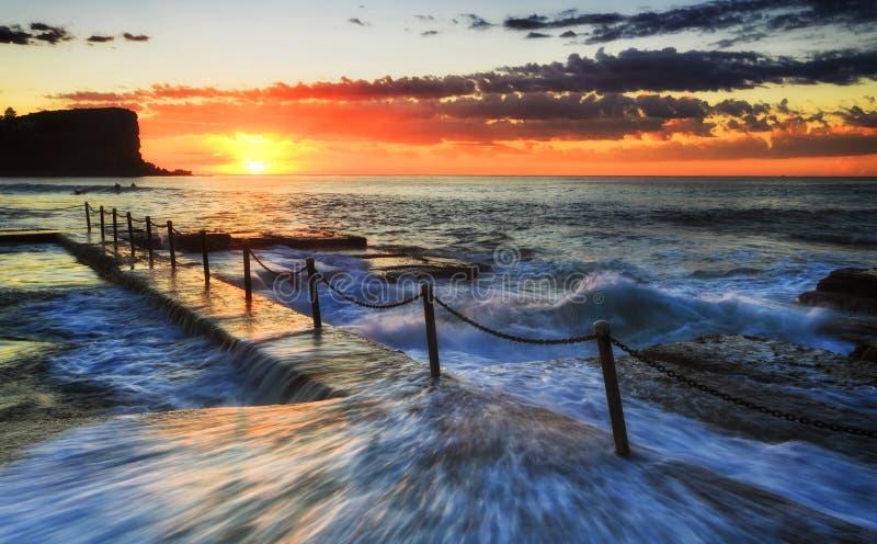 Mar Avalon Pool Over Sun imagen de archivo libre de regalías
