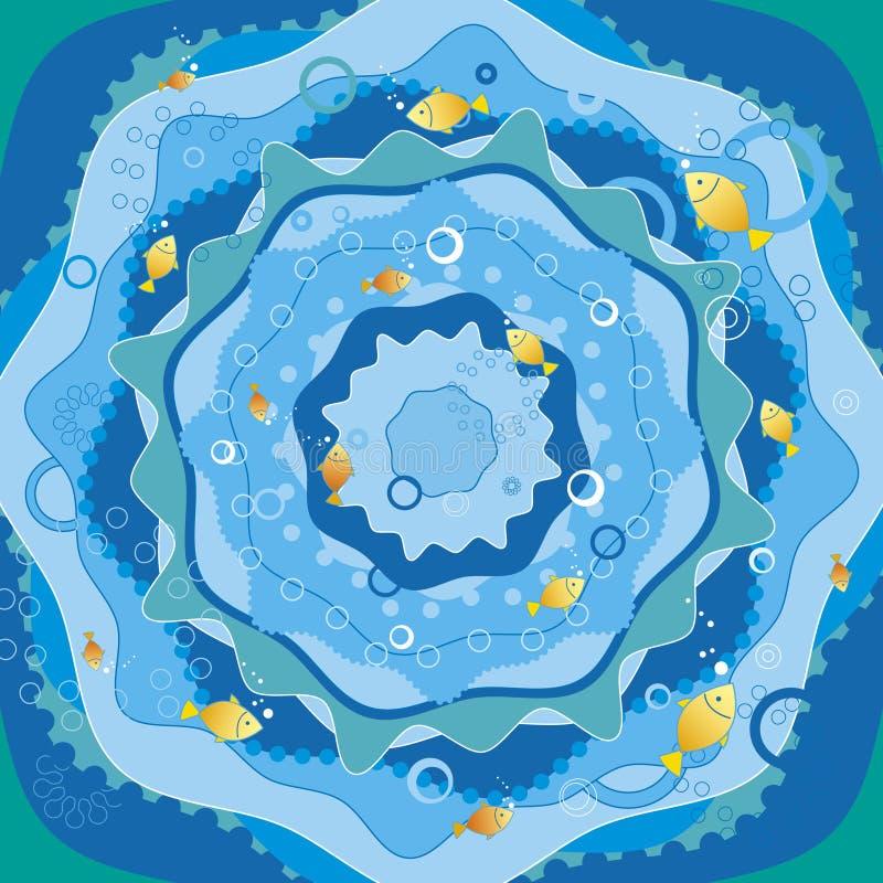 Mar azul com peixes, vetor ilustração do vetor