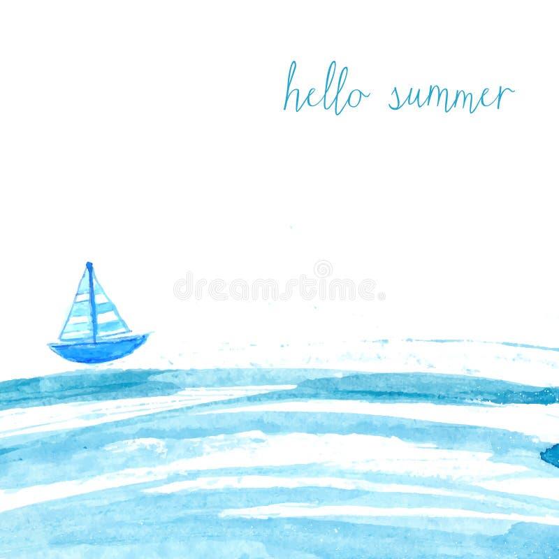 Mar azul de la acuarela con la nave y el texto hola libre illustration
