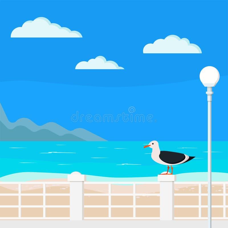 Mar azul del ejemplo con el muelle, montañas, nubes, palmas, linterna de la calle, gaviota en el parapeto, arena ilustración del vector
