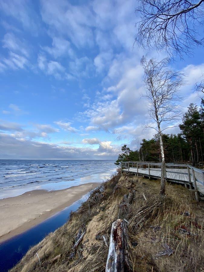Mar Báltico outono costa mar praia mar Saulkrasti Letónia fotografia de stock