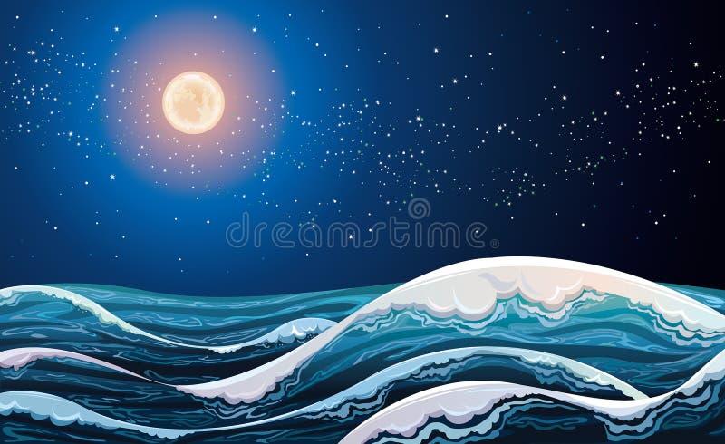 Mar com ondas e céu noturno. ilustração stock