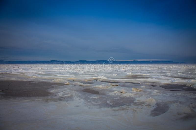 Mar congelado Quebeque de St Lawrence fotografia de stock