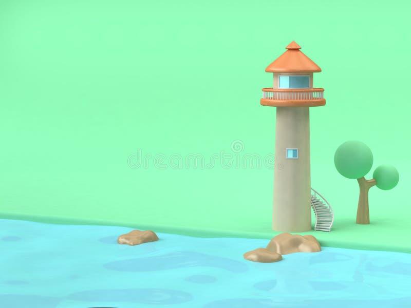 mar da água azul da praia do verde do estilo dos desenhos animados da Farol-torre, rendição do conceito 3d da natureza-construção ilustração stock