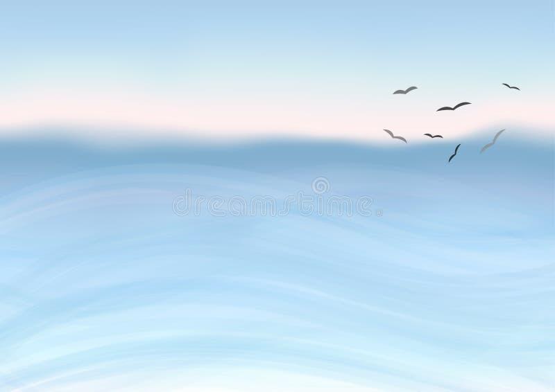 Mar de la acuarela stock de ilustración