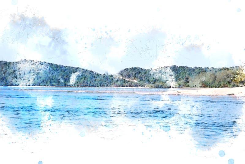 Mar de la arena y fondo hermosos abstractos de la monta?a en Krabi, Tailandia en la pintura del ejemplo de la acuarela stock de ilustración
