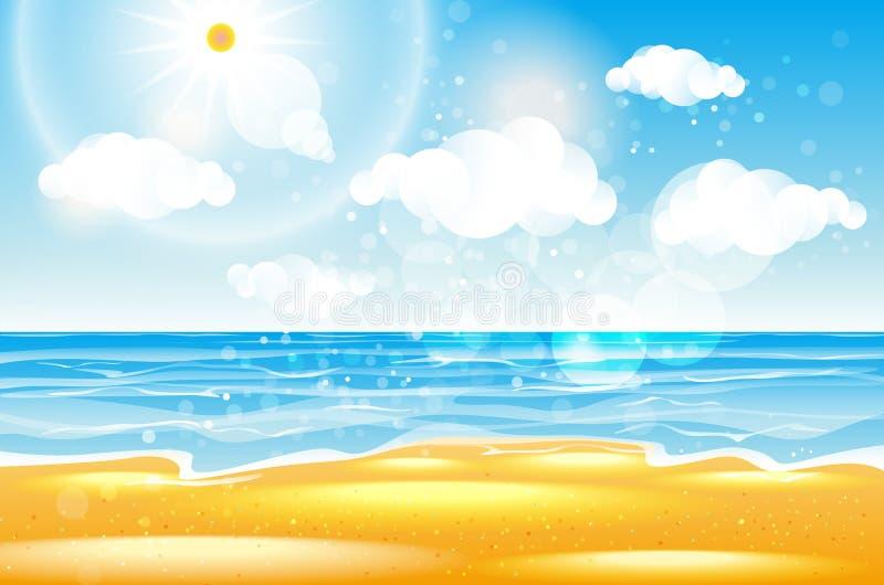 Mar de la playa Tailandia del karon Playa del mar con las ondas, el cielo azul y la arena blanca Onda hermosa del mar Playa vacía ilustración del vector