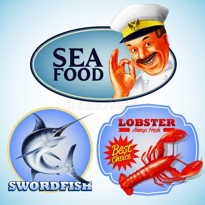 Mar de las etiquetas engomadas stock de ilustración