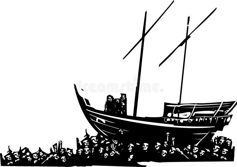 Mar de refugiados ilustración del vector