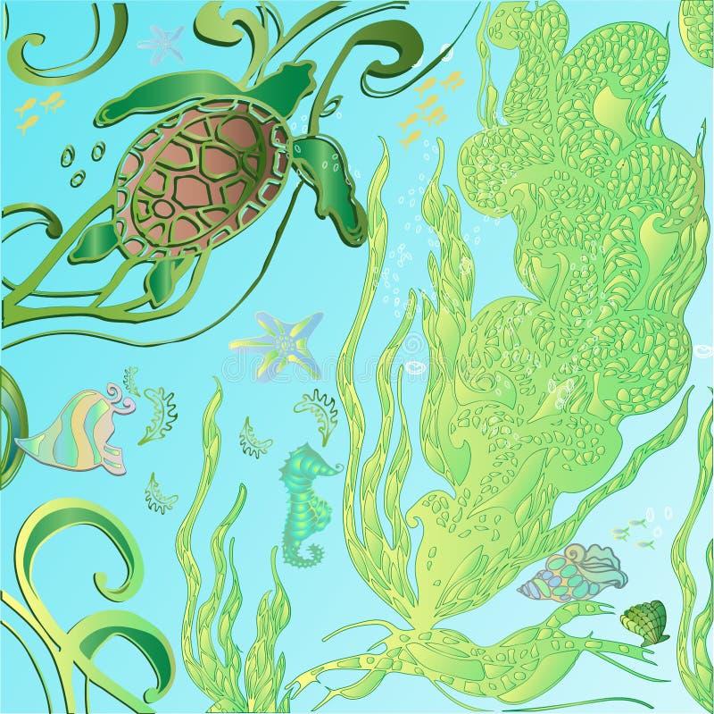 Mar del garabato del dibujo de la mano, océano stock de ilustración