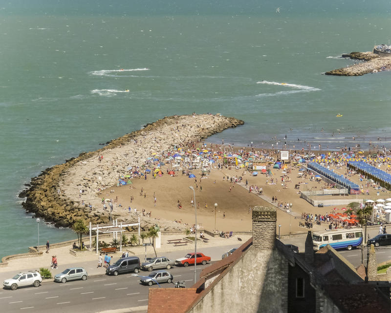 Mar del Plata Beach Aerial View royalty free stock photography