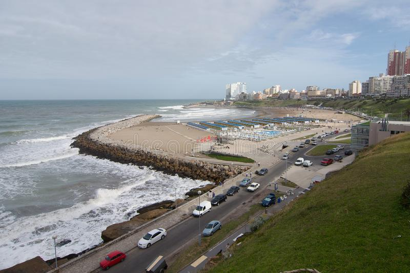View of Mar del Plata coast. Mar del Plata, Buenos Aires, Argentina - 2019: View of the coast with part of the city skyline in the background stock images
