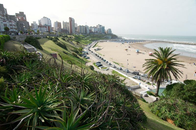 View of Mar del Plata coast. Mar del Plata, Buenos Aires, Argentina - 2019: View of the coast with part of the city skyline in the background royalty free stock photo