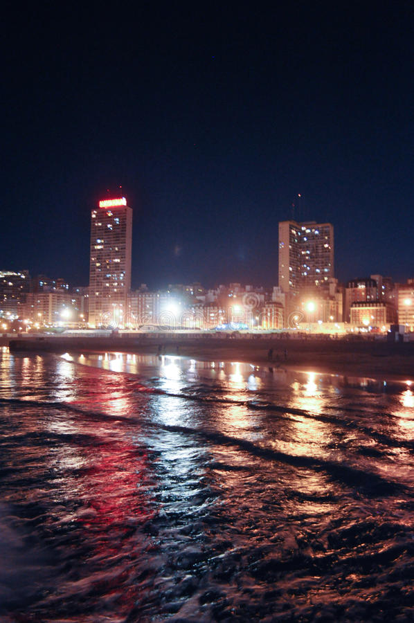 Mar del Plata Cityscape at night, Buenos Aires, royalty free stock photos