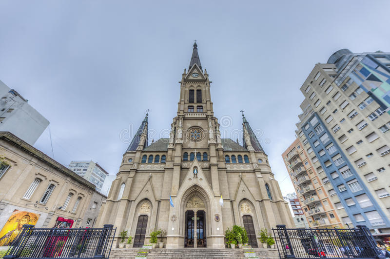 Mar del Plata's Cathedral, Buenos Aires, Argentina. St. Peter and St. Cecilia (San Pedro y Santa Cecilia) Cathedral in the coastal city of Mar del Plata in stock photography