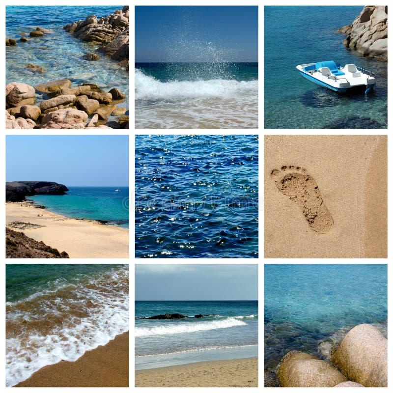 Mar del verano y collage del día de fiesta de la playa imagenes de archivo