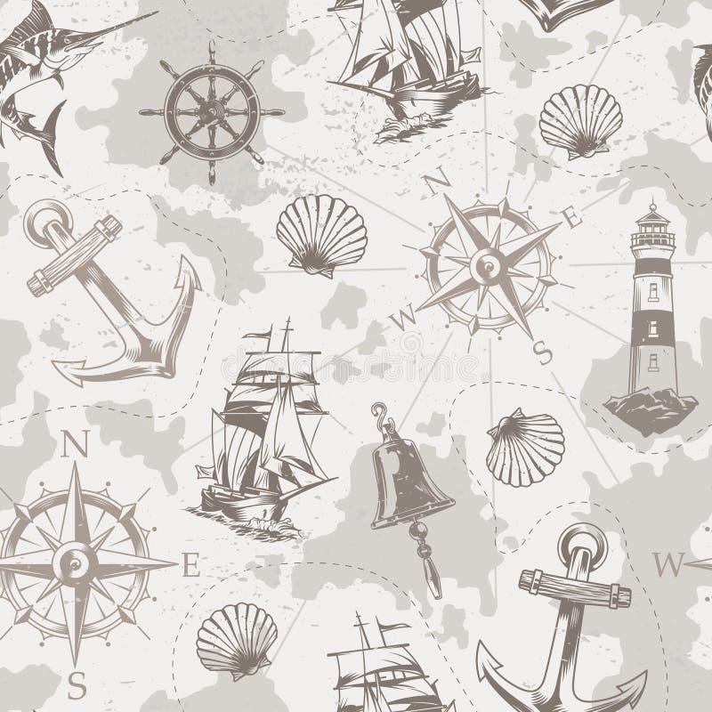 Mar del vintage y modelo inconsútil marino libre illustration