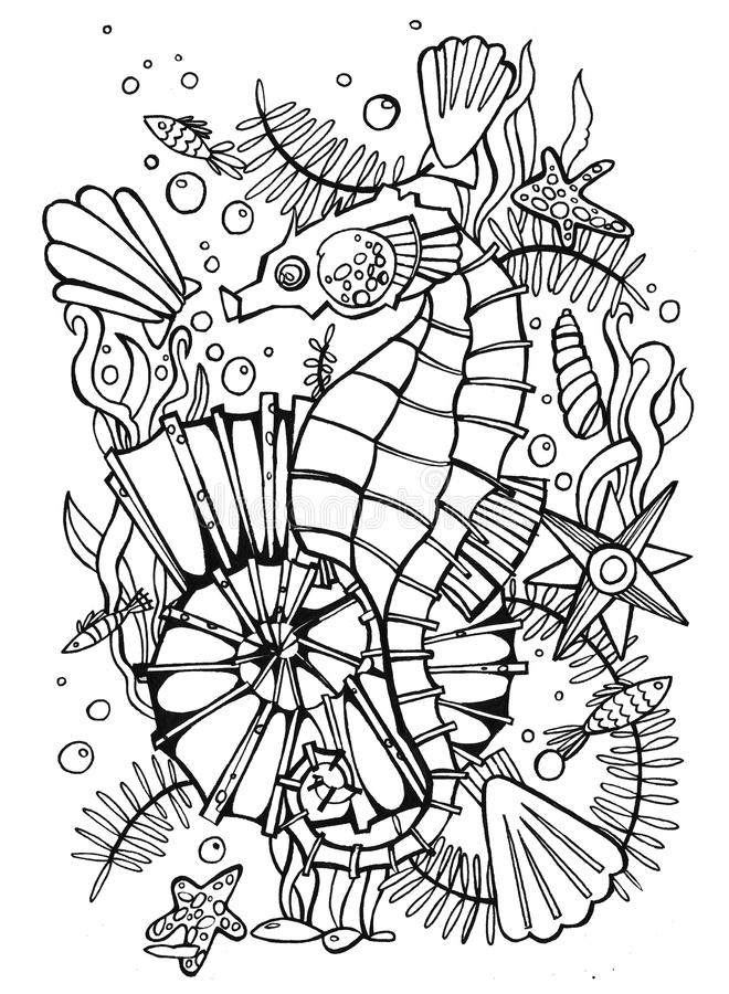 Mar Dibujado Mano De La Página Del Colorante Stock de ilustración ...