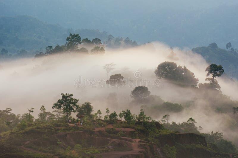 Mar do ponto de opinião da névoa de Krungshing da névoa fotos de stock royalty free