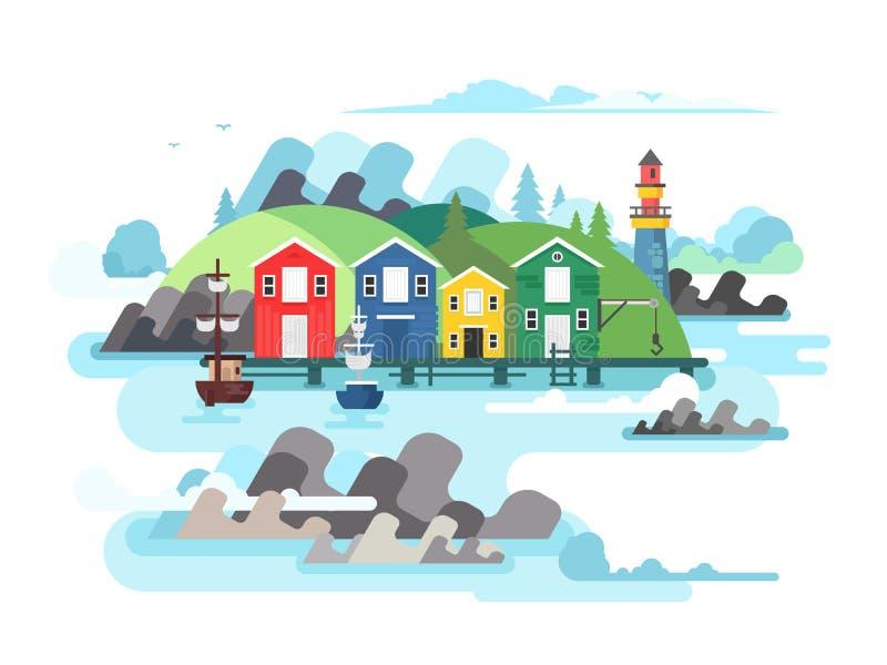 Mar do porto ou porto do oceano ilustração royalty free