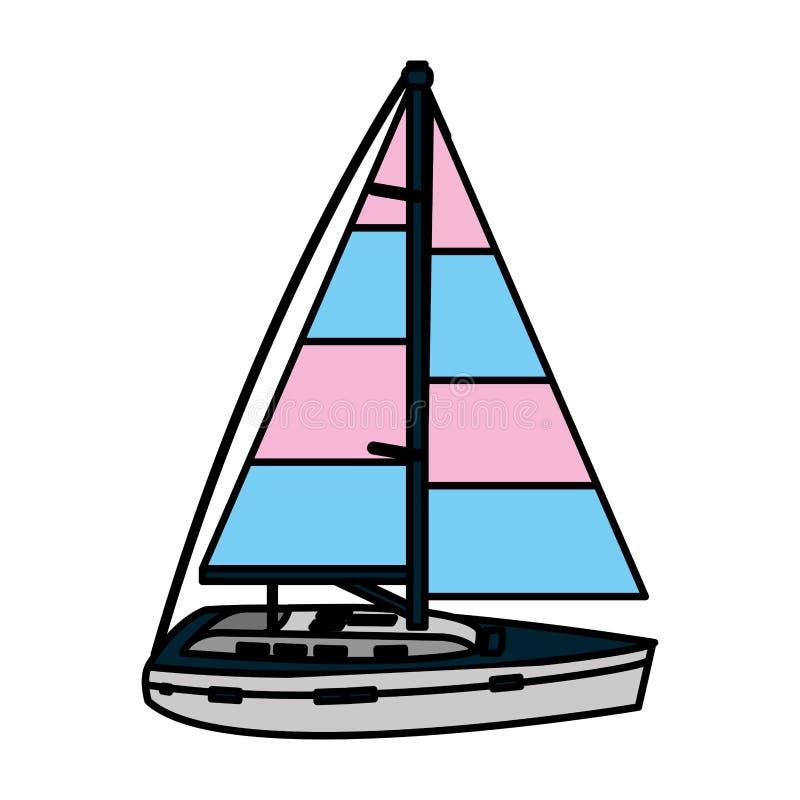 Mar do transporte do estilo do barco de navigação da cor ilustração royalty free
